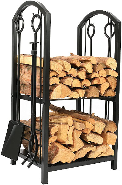 """1.Go 18""""Wide x 27.5""""High Iron Firewood Log Rack with Fireplace Tool Set review"""