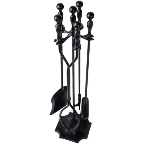 Amagabeli 5 Pcs Fireplace Large Fire Tool Set and Holder (Black Handle) review
