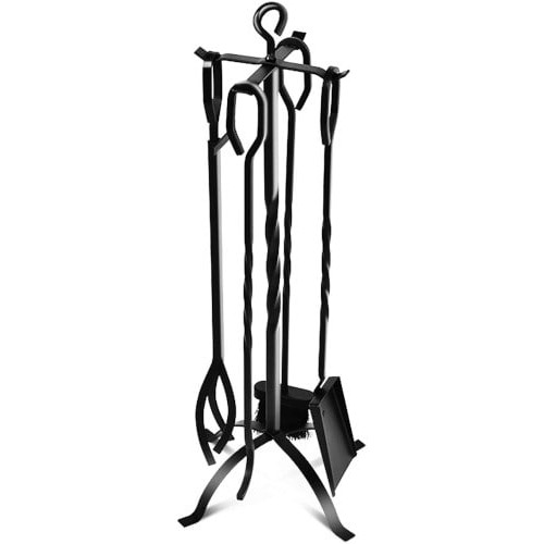 COMFYHOME 5-Piece Fireplace Tools Set Heavy Duty Wrought Iron review