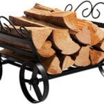DOEWORKS Fireplace Log Rack Decorative Wheels Fire Wood Carriers Heavy Duty Firewood Holder