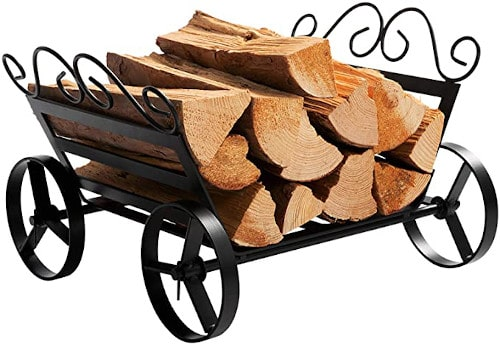 DOEWORKS Fireplace Log Rack Decorative Wheels Fire Wood Carriers Heavy Duty Firewood Holder review