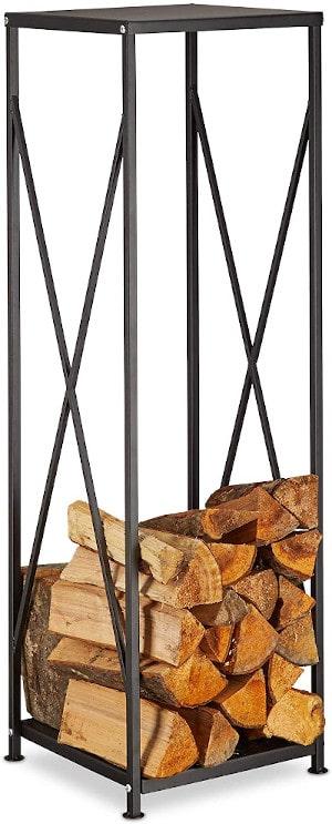 Relaxdays Cast Iron Firewood Rack Powder-Coated Log Holder Wood Pile Storage