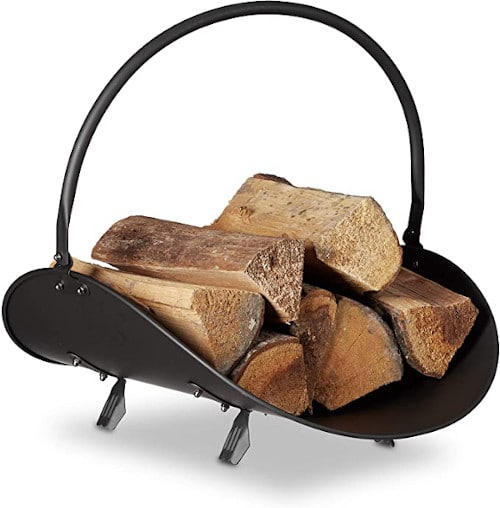Relaxdays Firewood Basket Large Fireplace Wood Cradle Metal Log Holder