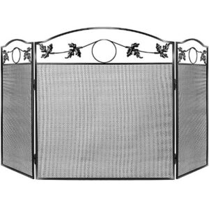 WBHome 3 Panel Wrought Iron Fireplace Screen Solid
