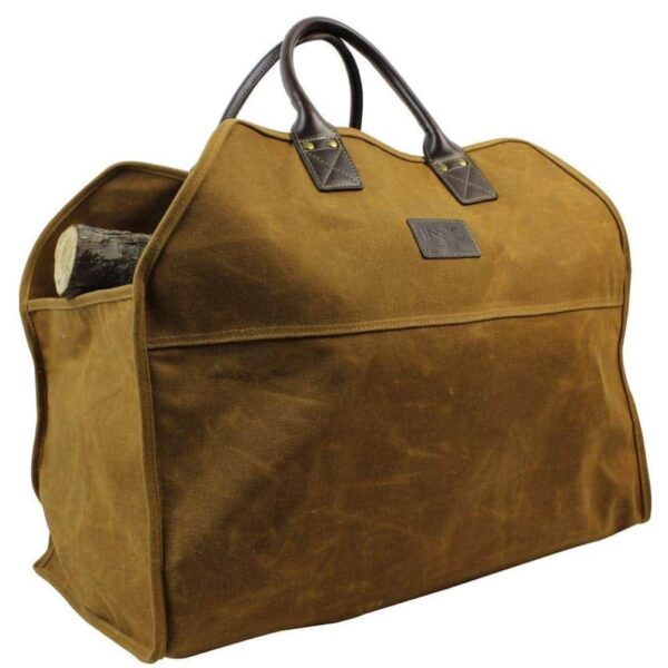 Heavy Duty Wax Canvas Log Carrier Tote Rust