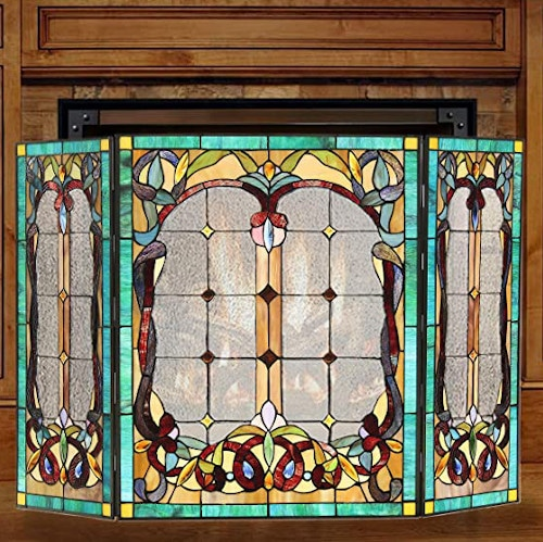 ARTZONE Fireplace Screen Stained Glass Gas and Wood Burning Tiffany Style — Best For Easy Installation