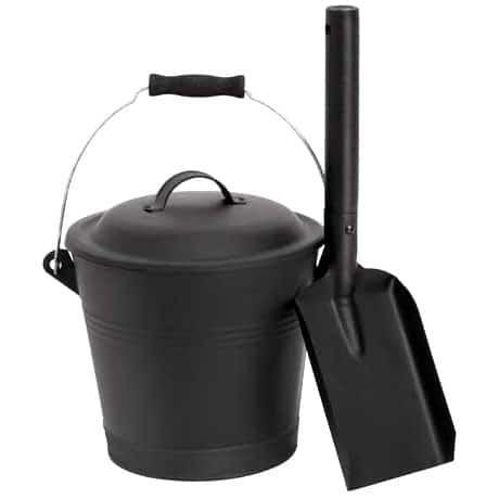 Aboniris Mini Ash Bucket with Shovel and Lid Black — Best For Convenience & Compact Size