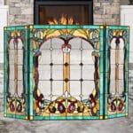 Capulina Fireplace Screen Tiffany Style Gas and Wood Burning