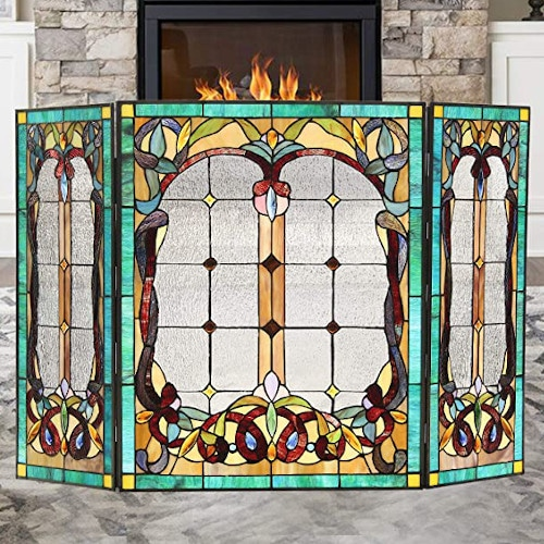 Capulina Fireplace Screen Tiffany Style Gas and Wood Burning — Best For Quality