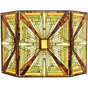 Capulina Tiffany Style Fireplace Screen W44 x H28 Mission Style Gas and Wood Burning