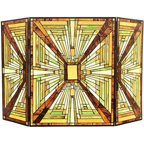 Capulina Tiffany Style Fireplace Screen W44 x H28 Mission Style Gas and Wood Burning — Best For Art Deco Design