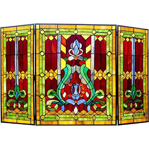 HChloe Lighting 3pcs Folding Victorian 44 Wide Tiffany-Glass Fireplace Screen — Best For Texture