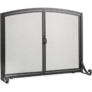 Plow & Hearth Arched Top Flat Guard Fireplace Screen with Doors