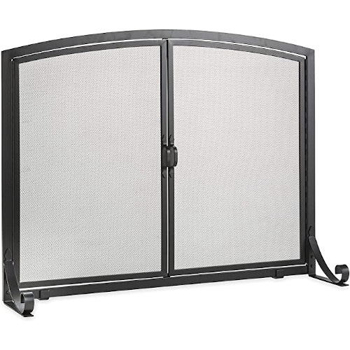 Plow & Hearth Arched Top Flat Guard Fireplace Screen with Doors — Best For Handcrafted Arched Design