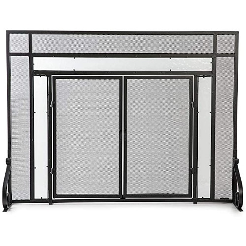 Plow & Hearth Small Fireplace Screen with Hinged Magnetic Doors — Best For Structure & Lightweight