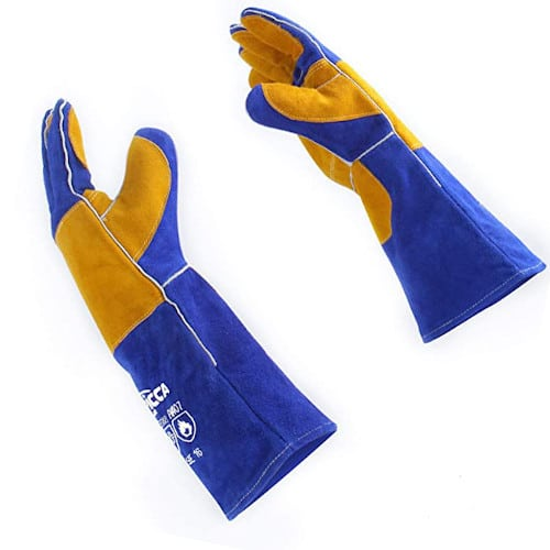 """RAPICCA 16"""" 932℉ Leather Forge Welding Gloves Heat and Fire Resistant for Grill Fireplace Stove — Best Overall"""