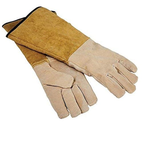 "Rocky Mountain Goods Leather Gloves 16"" Heat Resistant Pig Skin Leather for Fireplace and Grilling – Premium Pigskin Leather"