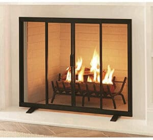 Style Selections Style Selections 38.97-in Black Powder Coated Steel Flat Twin Fireplace Screen