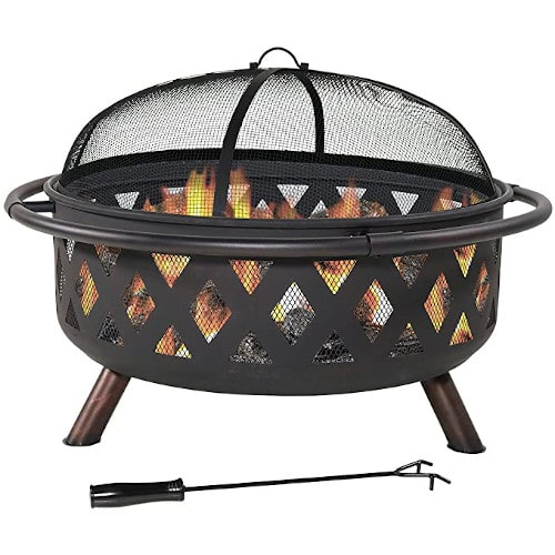 Sunnydaze Crossweave Outdoor Fire Pit Large Wood Burning – Best Overall