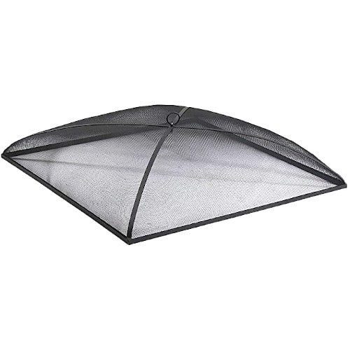Sunnydaze Fire Pit Spark Screen Cover Outdoor Heavy Duty Steel Square Firepit Lid Protector – Comes With a Warranty