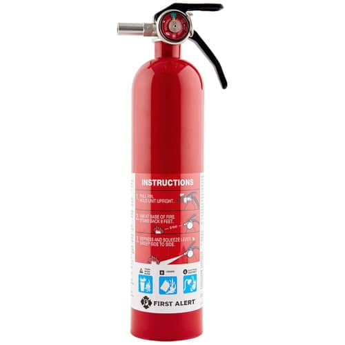 First Alert HOME1 Rechargeable Standard Home Fire Extinguisher UL Rated 1-A:10-B:C, Red