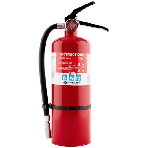 First Alert HOME2PRO Rechargeable Compliance Fire Extinguisher UL rated 2-A:10-B:C, Red