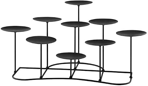 QIKADSEN Black Metal Pillar Candle Candelabra for Fireplace/Table/Wedding/Christmas Decoration Iron Candle Holders of 9 DIY Home Decor review