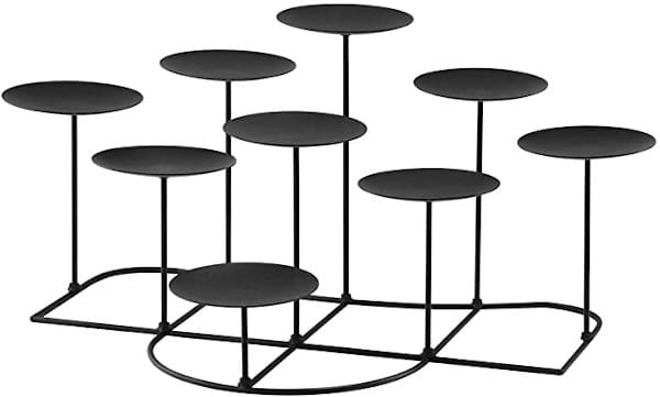 smtyle DIY 9 Mantle Candelabra Flameless or Wax Candle Holders for Fireplace with Black Iron Decoration on Desk / Floor review