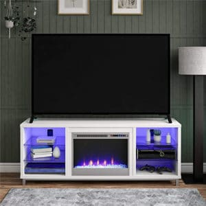 Ameriwood Home Fireplace TV Stand White