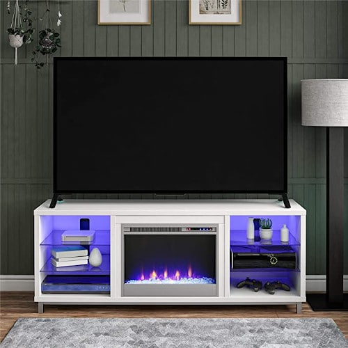 """Ameriwood Home Fireplace TV Stand for TVs up to 70"""", White review"""