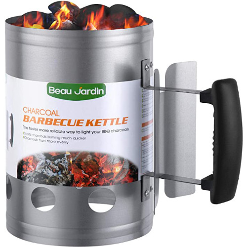 """BEAU JARDIN Charcoal Chimney Starter 11""""X7"""" Grill Barbecue BBQ Can Canister for Grilling Camping Accessories review"""