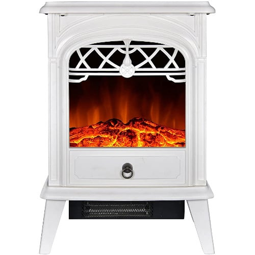 GMHome Free Standing Electric Fireplace Cute Electric Heater Log Fuel Effect Realistic Flame Space Heater, 1500W - White review