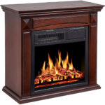 JAMFLY 26'' Mantel Electric Fireplace Heater Small Freestanding Infrared Quartz Fireplace Stove Heater w/Log 750W-1500W, (Brown)