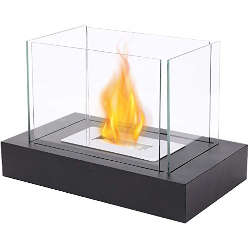"""JHY DESIGN Rectangular Tabletop Fire Bowl Pot with Four-sided Glass 13.5""""L Portable Tabletop Fireplace–Clean-Burning Bio Ethanol Ventless Fireplace for Indoor Outdoor Patio Parties Events review"""