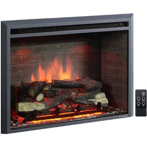 PuraFlame Western Electric Fireplace Insert with Fire Crackling Sound, Remote Control, 750/1500W, Black, 33 5/64 Inches Wide, 25 35/64 Inches High