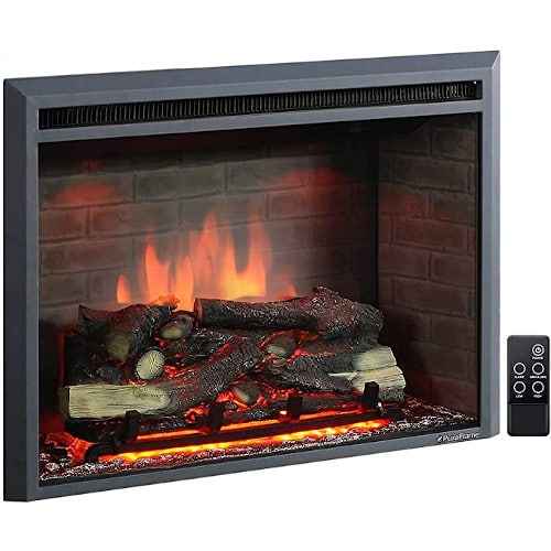 PuraFlame Western Electric Fireplace Insert with Fire Crackling Sound, Remote Control, 750/1500W, Black, 33 5/64 Inches Wide, 25 35/64 Inches High review
