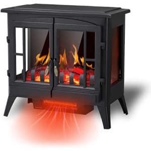 """R.W.FLAME Electric Fireplace Infrared Stove Heater, 23"""" Freestanding Fireplace Heater, 3D Realistic Flame Effects, Adjustable Brightness and Heating Mode, Overheating Safe Design, 1000W/1500W, Black"""