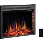 """R.W.FLAME Electric Fireplace Insert, Built- in Recessed Electric Stove Heater, Glass Door,Touch Screen,Remote Control,750W-1500W with Timer, Colorful Flame Option (39"""")"""