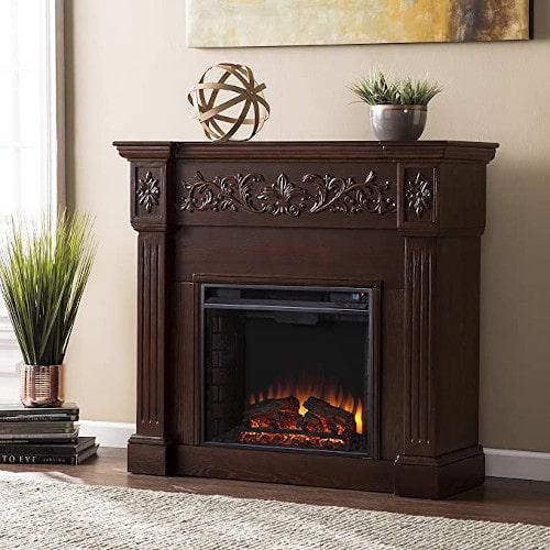 SEI Furniture Calvert Electric Carved Floral Trim Fireplace, Espresso review