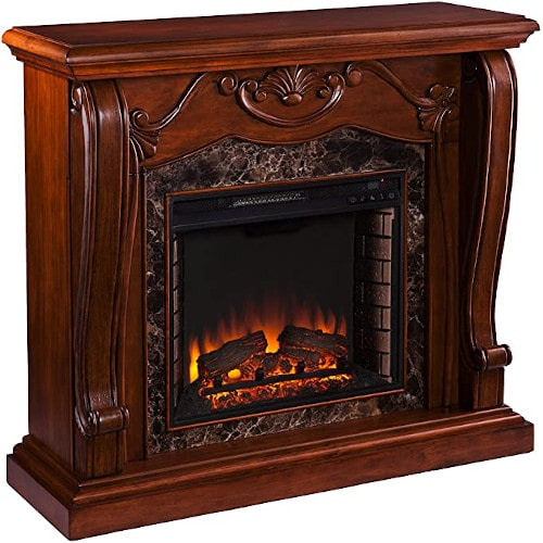 SEI Furniture Cardona Carved Wood & Faux Marble Electric Fireplace, Walnut review