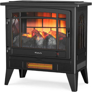 TURBRO Suburbs TS25 Electric Fireplace Infrared Heater - Freestanding Fireplace Stove 1400W Black