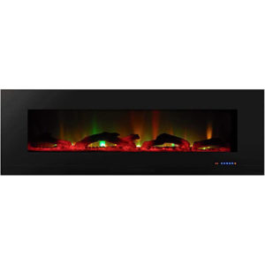 """Touchstone ValueLine 60"""" 10-Color, in-Wall Recessed, Electric Fireplace, 60 Inch Wide, Logset & Crystal, 1200W Heat (Black)"""