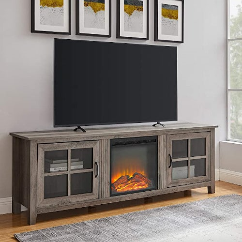 Walker Edison Bern Classic 2 Glass Door Fireplace TV Stand for TVs up to 80 Inches, 70 Inch, Grey Wash review