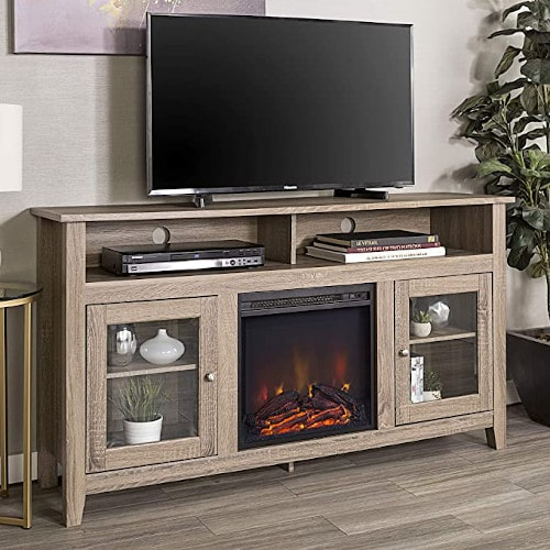 Walker Edison Glenwood Rustic Farmhouse Glass Door Highboy Fireplace TV Stand for TVs up to 65 Inches, 58 Inch, Driftwood review