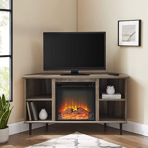 """Walker Edison Simple Corner Fireplace Stand with Open 52"""" Flat Screen Universal TV Console Living Room Shelves Entertainment Center, Grey Wash review"""