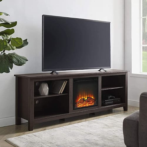 Walker Edison Wren Classic 4 Cubby Fireplace TV Stand for TVs up to 80 Inches, 70 Inch, Espresso