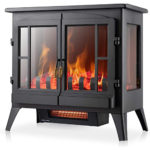 Xbeauty Electric Fireplace Stove, Freestanding Fireplace Heater with Realistic Flame, Indoor Electric Stove Heater 1000W/1500W(23 Inch)