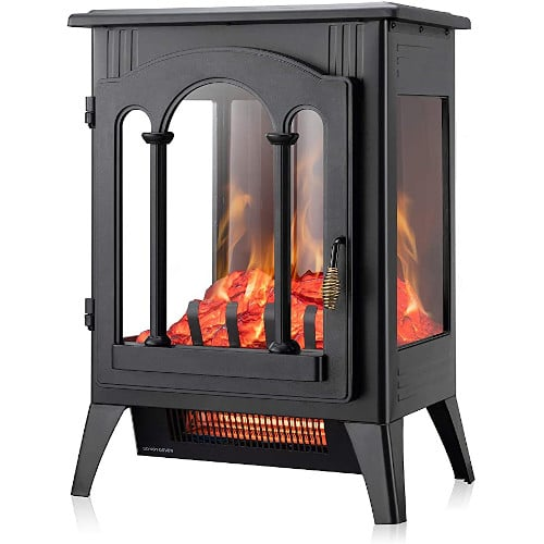 Xbeauty Electric Fireplace Stove, Freestanding Fireplace Heater with Realistic Flame, Indoor Electric Stove Heater, Portable, Infrared, Thermostat, Overheating Safety System, 1000W/1500W(16 Inch) review