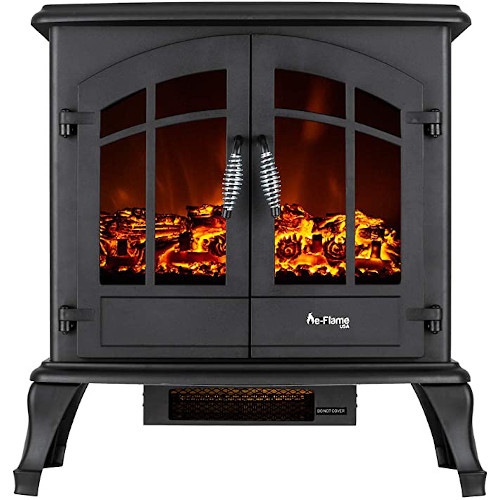 e-Flame USA Jasper Freestanding Electric Fireplace Stove Heater - Realistic 3-D Log and Fire Effect (Black) review