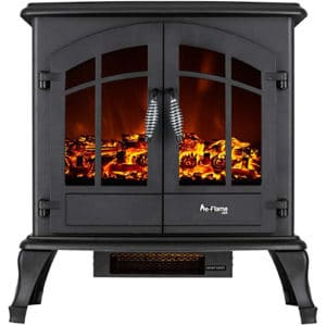 e-Flame USA Jasper Freestanding Electric Fireplace Stove Heater - Realistic 3-D Log and Fire Effect (Black)